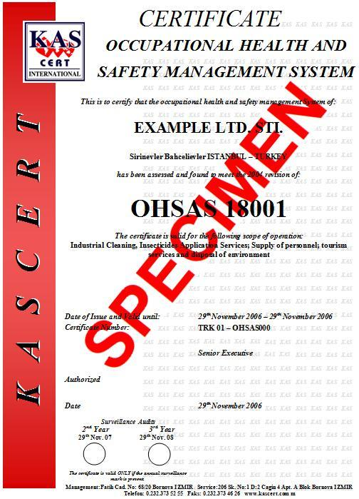 kas certification ohsas iso18001 sample certificate